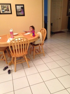 Alex set the table like a big girl!
