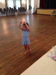 Alex was practicing her ballet before class even started. She did a fantastic job!